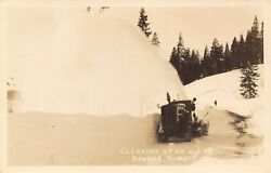 Donner Summit Californiabig Snow Plow Tractor Cleaning Up Us 401940s Rppc