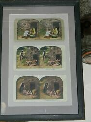 Black Americana Stereoview Card Display 3 In Succesion Mounted Display