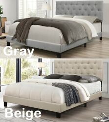 Tufted Upholstered Low-profile Bed Wood Frame Furniture Twin Queen King Full