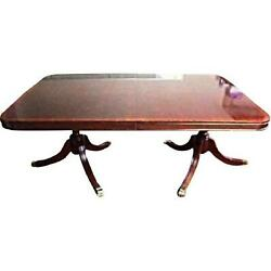 Banded Mahogany Claw Foot American Dining Room Table Leaves Pads Antique Vintage