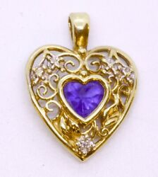 10k Solid Yellow Gold Heart-cut Unknown Purple Stone And Diamond Accent Pendant