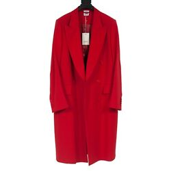 Tout Neuf - Vetements - Double Boutonnage Pic Revers Rouge Manteau Long - Taille