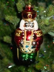 """Vtg Christmas Ornament Toy Soldier And Drum Huge Blow Mold Hard Plastic 7"""" Rare"""