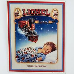 Lionel Trains Tin Sign Not Just A Toy, A Tradition Boy Dreaming 1992 Christmas