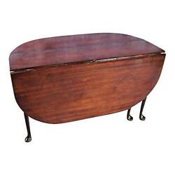 18c Early Queen Anne Mahogany Drop Leaf Gate Leg Table Console Dining Antique
