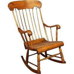 19th C Antique American Spindle Back Caned Seat Rocking Chair Armchair Vintage