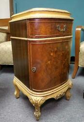 Antique Louis Xv Marquetry Inlaid Commode Nightstand End Side Table Cabinet