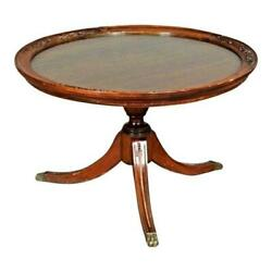 Georgian Style Glass Top Mahogany Low Table Coffee Antique Vintage Side Lamp