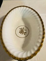 Rare Minton Gold Rose Oval Vegetable Dish Swirled Edge And Gold Trim Discontinued