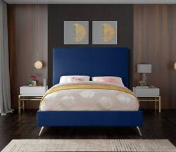 Twin Size Bed Navy Velvet Gold Chrome Legs Bedroom Furniture Contemporary Style