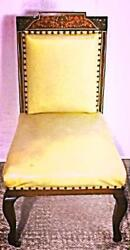 Antique Marquetry Inlaid Victorian Side Accent Chair Dining Arm Sofa Vintage