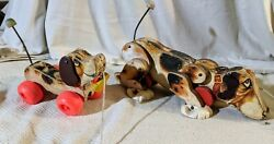 Vintage Fisher Price Snoopy And Little Snoopy Wooden Dog Pull Toys 181 And693 1961