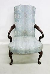 Fine Queen Anne Style Armchair Chair Dining Side Carved Brocade Vintage Antique