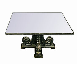 Rare Black Carved Mirror Glass Top Antique Coffee Table Side Low Vintage Square