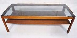 American Smoked Glass Top Mid Century Modern Cocktail Coffee Table Sofa Side End