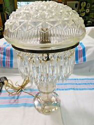 Antique Crystal Parlor Lamp W/ Prisms W/ Pressed Glass Shade 15 1/2 Tall 2165