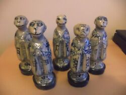 Set Of 5 Antique Oriental Chinese Pottery Animal Statues Skittles Blue White