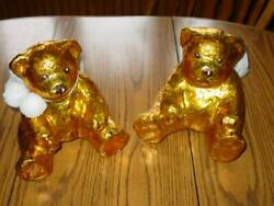 2 Vintage Large Paper Mache Gold Angel Bears Christmas Display Decor Wow