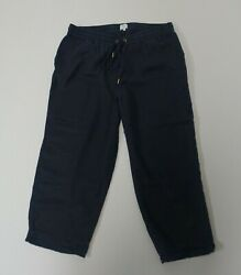 Crown amp; Ivy Beach Navy Drawstring Lyocell Pull On Casual Cropped Pants Medium $8.80