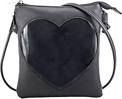 SteamedBun Ita Bag Heart Crossbody Bags For Women Girls Small Clear Phone Wallet $18.83