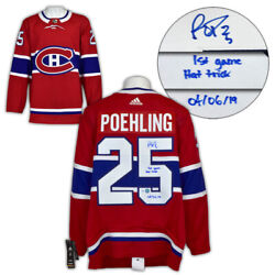 Ryan Poehling Montreal Canadiens Signed And Dated 1st Game Hat Trick Adidas Jersey