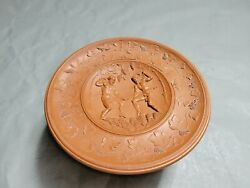 Vintage Pottery Red Clay Raised Decorative Motif Bowl With Plate Top 3''t 6.2w