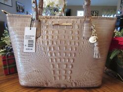 New Brahmin Croco Leather Linen Melbourne MD Asher Tote Satchel Purse $285 $164.75
