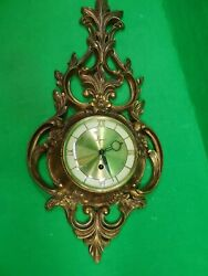 Vintage Syroco 8 Day Jeweled Wall Clock - Gold - Hollywood Regency - Mid Century