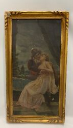 Antique Oil Canvas Painting 1890s 19th Century Courting Couple Wanamaker Store