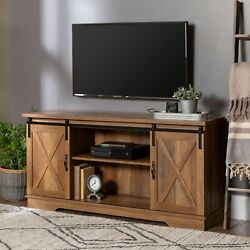 Barn Door Tv Stand For Tvs Up To 65 White/reclaimed Barn Wood Farm House