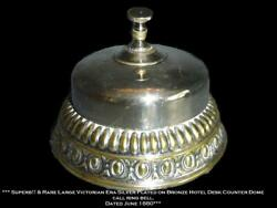 Antique Rare Victorian Silver Over Bronze Large Dome Hotel Desk Ring Bell 1880.