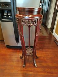 Antique Carved Chinese Hardwood Marble Plant Stand Table 44 3/4 Tall X 16 Wide