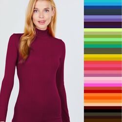 T Shirt Turtleneck Long Sleeve Light Weight Active Basic Stretch Top S M L