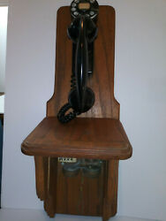 Bell System Western Electric 43a F-1 Wall Phone Oak Wall Mount And Ringer