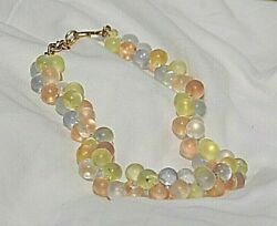 Monet Wisteria Lucite Pastel Bubble Beaded Runway Designer Necklace Hang Tag