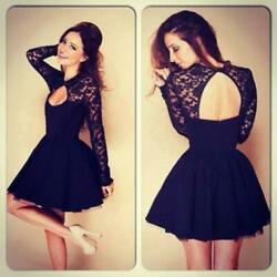 Sexy Women Floral Long Sleeve Lace Backless Evening Party Mini Dress Black $15.79