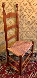 19th Century New England Shaker Style Ladderback Side Chair With Splint Seat