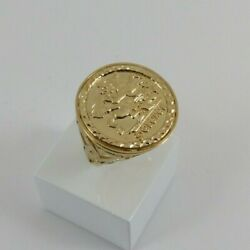 9ct Gold Coin Ring George And Dragon Disc Hallmarked 5gram 25mm Size V Gift Box
