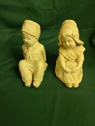 Vintage Lot 2 Chalkware Figurines Bookends Boy And Girl