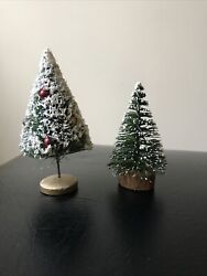 Set Vintage Miniature Bottle Brush Christmas/winter Trees, Snowy,with Ornaments