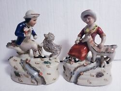 Vintage Pair Of Staffordshire Style 8.5 Figurines Boy/dog, Girl/goat By Stream