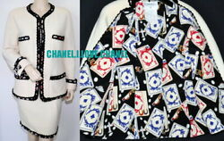 90s Vintage Cc Playing Cards Tweed Jacket Skirt Suit,40,collector's Piece