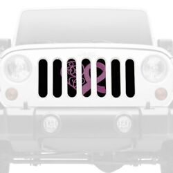 For Jeep Cj7 76-86 Main Grille 1-pc Center Pink Hearts Breast Cancer Ribbon
