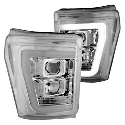 For Ford F-250 Super Duty 11-16 Chrome Led Drl Bar Halo Projector Headlights