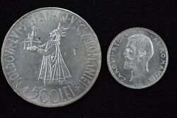 Romania Large Silver Crown 1941 500 Lei And 1914 1 Leu Two Coins Uncirculated