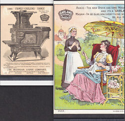 Antique Garland Range 1889 Detroit Mich Stove Victorian Maid Sewing Trade Card