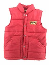 Vintage Swingster Red Puffer Vest Snap Buttons Kent Feeds Patch Size Small