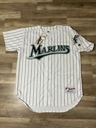 New Vintage Florida Marlins Mlb Authentic Pinstriped Russell Jersey 40 Medium