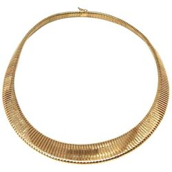 Vintage 14k Yellow Gold Graduating Tubogas Style Collar Necklace