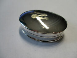Sterling Silver Oval Shape Pill Box Hallmarked Smooth Top 925 Silver 1 1/2 Long